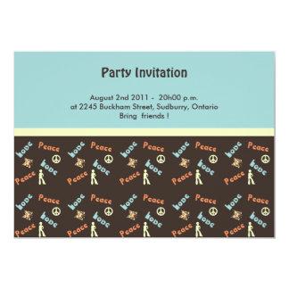Retro Peace n Love Invitation