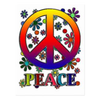 Retro Peace Sign & Flowers Postcard