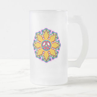 RETRO PEACE SIGN FROSTED GLASS BEER MUG