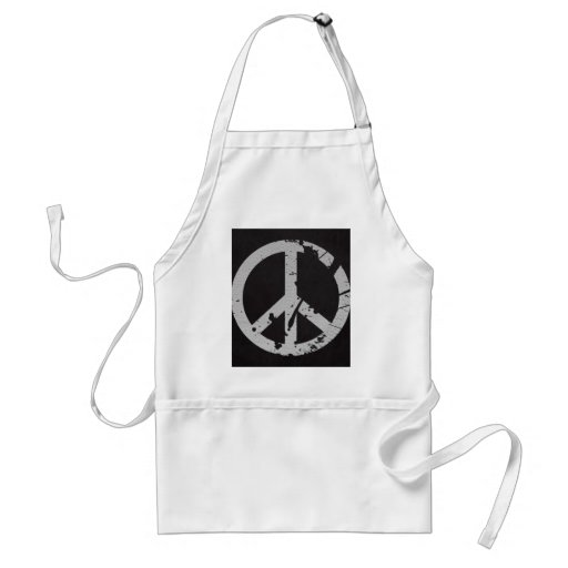 Retro Peace Sign in Leather Adult Apron