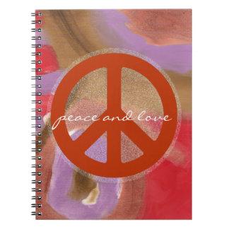 retro peace sign note book