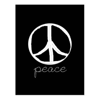 Retro Peace Sign on Black Background Post Cards
