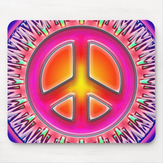 RETRO PEACE SIGN ORNAMENT MOUSE PAD