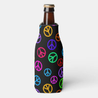 Retro Peace Sign Pattern Bottle Cooler