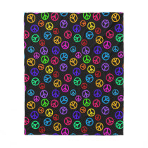 Retro Peace Sign Pattern Fleece Blanket