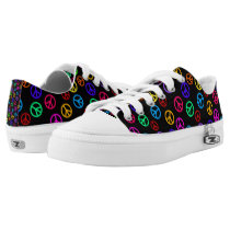 Retro Peace Sign Pattern Low-Top Sneakers