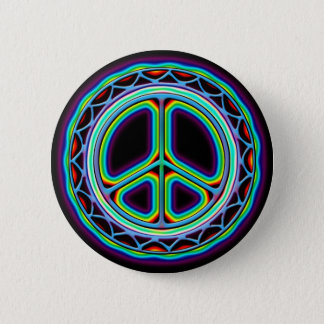 RETRO PEACE SIGN PINBACK BUTTON