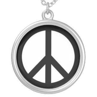 Retro Peace Sign Silver Plated Necklace