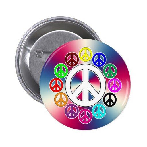 retro peace signs 2 inch round button