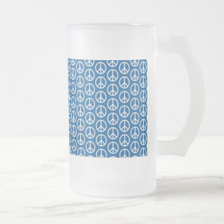 Retro Peace Signs on Deep Blue Frosted Glass Beer Mug