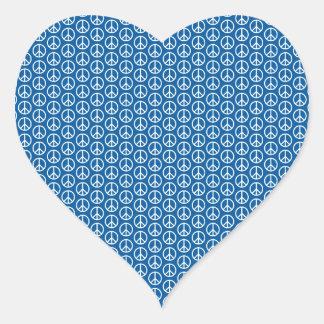 Retro Peace Signs on Deep Blue Heart Sticker