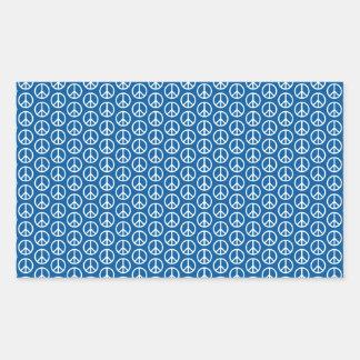 Retro Peace Signs on Deep Blue Rectangular Sticker