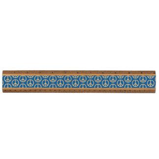 Retro Peace Signs on Deep Blue Ruler