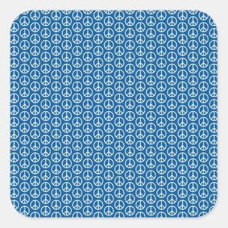 Retro Peace Signs on Deep Blue Square Sticker