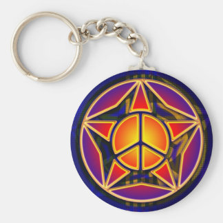 RETRO PEACE STAR KEYCHAIN