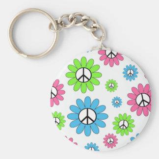 Retro Peace Symbol Flowers Basic Round Button Keychain