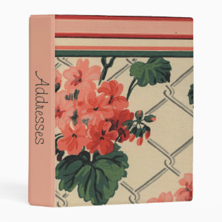 Retro Peach and Green Floral With Striped Border Mini Binder
