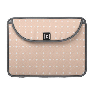 Retro Peach and White Squares Pattern MacBook Pro Sleeve