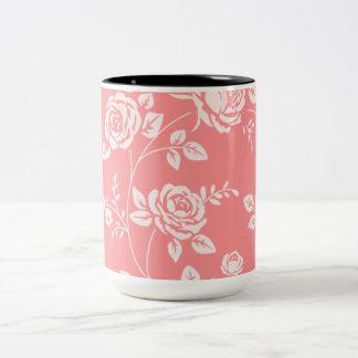 Retro_Peach__Floral(c)__Unisex Two-Tone Coffee Mug