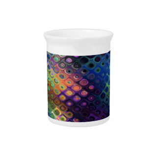 Retro Peacock Tiles Iridescent Blue Purple Green Pitcher
