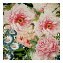 Retro Peony Flower Spring Floral Pattern Poster