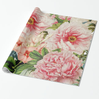 Retro Peony Flower Spring Floral Pattern Wrapping Paper