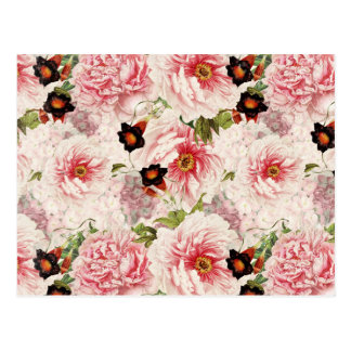 Retro Peony Flower Spring painterly Pattern Postcard
