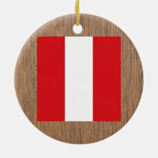 Retro Peru Flag Ceramic Ornament