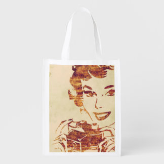 Retro photographer reusable grocery bag