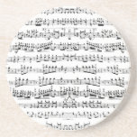 Retro Piano Sheet Music Notes Pattern Beverage Coasters