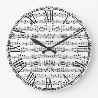 Retro Piano Sheet Music Notes Pattern Large Clock