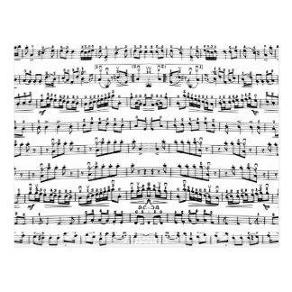 Retro Piano Sheet Music Notes Pattern Postcard
