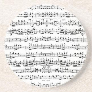 Retro Piano Sheet Music Notes Pattern Sandstone Coaster