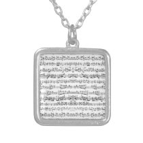 Retro Piano Sheet Music Notes Pattern Silver Plated Necklace