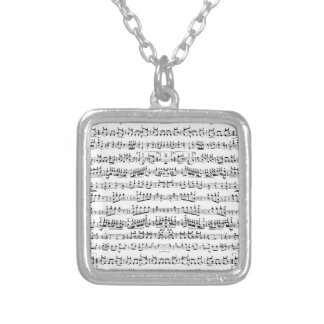 Retro Piano Sheet Music Notes Pattern Square Pendant Necklace