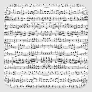 Retro Piano Sheet Music Notes Pattern Square Sticker