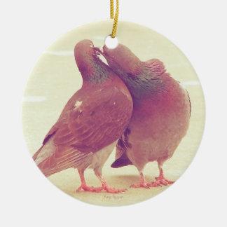 Retro Pigeon Love Birds Kissing Couple Photo Ceramic Ornament