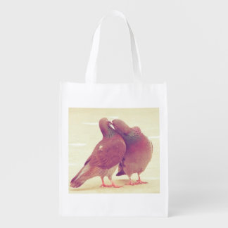 Retro Pigeon Love Birds Kissing Couple Photo Grocery Bags