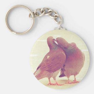 Retro Pigeon Love Birds Kissing Couple Photo Keychain
