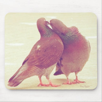 Retro Pigeon Love Birds Kissing Couple Photo Mouse Pad