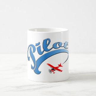 Retro Pilot graphic with Blue Text Classic White Coffee Mug