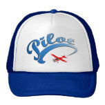Retro Pilot graphic with Blue Text Hats