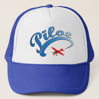 Retro Pilot graphic with Blue Text Trucker Hat