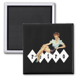 Retro Pin Up 2 Inch Square Magnet