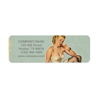 retro pin up girl beauty salon hair makeup artist return address label