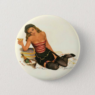 Retro Pin Up Girl Button #6 - My Little Heart