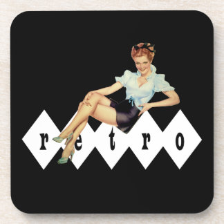 Retro Pin Up Girl Drink Coasters