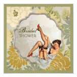 retro pin up girl floral Bridal Shower Tea Party 5.25x5.25 Square Paper Invitation Card