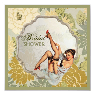 retro pin up girl floral Bridal Shower Tea Party Invitation