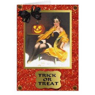 RETRO PIN UP GIRL HALLOWEEN CARD